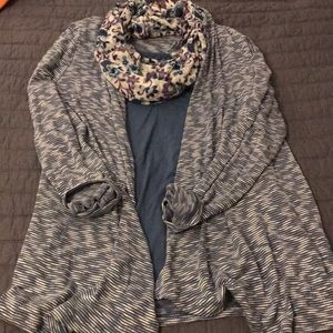 Blue sweater set with scarf